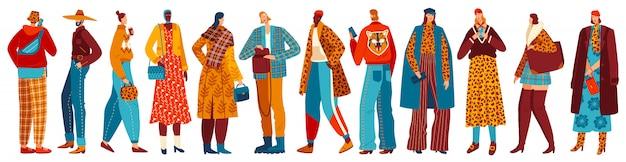 Coleção de personagens de estilo rua pessoas vestindo roupas da moda, conjunto de jovens homens elegantes e mulheres vestidas roupas ilustração.