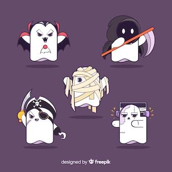 Coleção de personagens de fantasmas de halloween