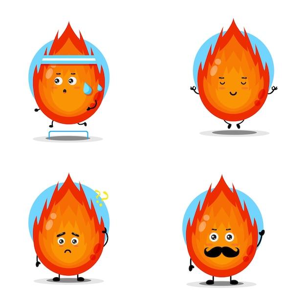 Coleção de personagens de fogo fofa