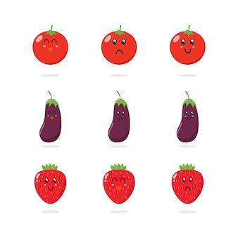Coleção de personagens de frutas bonitos