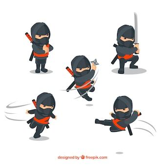Coleção de personagens de guerreiro ninja com design plano