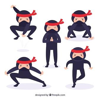 Coleção de personagens de guerreiro ninja