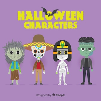 Coleção de personagens de halloween bonito