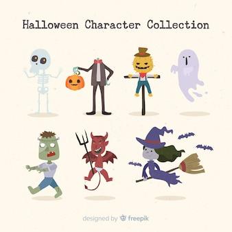 Coleção de personagens de halloween clássico com design plano