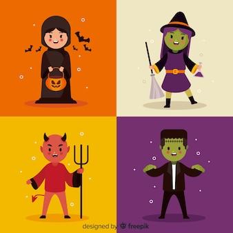 Coleção de personagens de halloween com design plano
