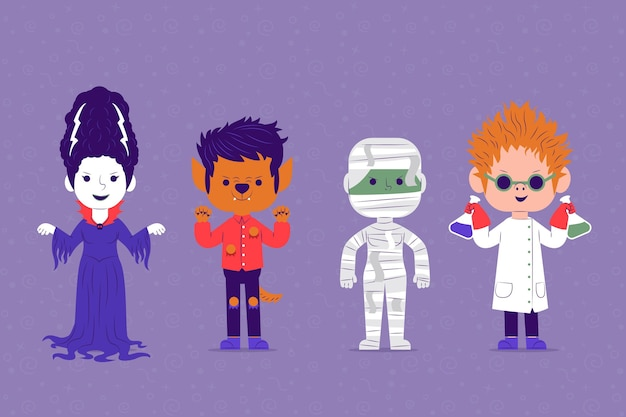 Coleção de personagens de halloween de design plano