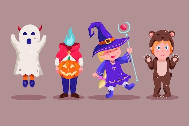 Coleção de personagens de halloween desenhada à mão