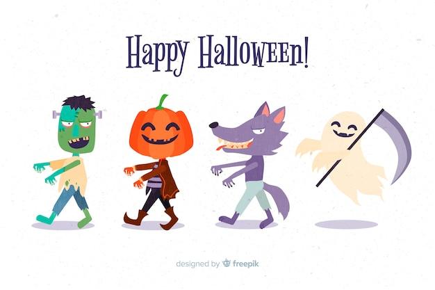 Coleção de personagens de halloween design plano
