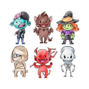 Coleção de personagens de halloween em aquarela