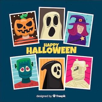 Coleção de personagens de halloween em design plano