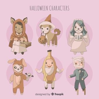 Coleção de personagens de halloween em estilo cartoon