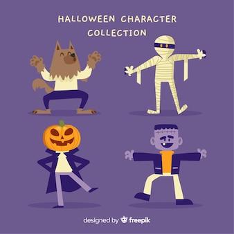Coleção de personagens de halloween engraçado com design plano
