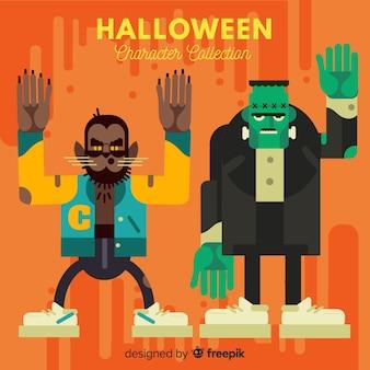 Coleção de personagens de halloween hipster em design plano