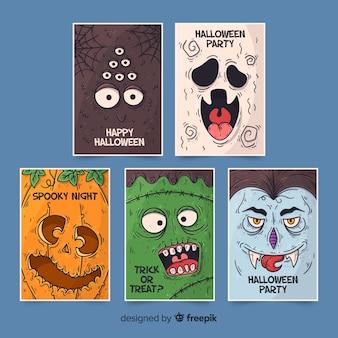 Coleção de personagens de halloween mão desenhada
