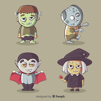 Coleção de personagens de halloween na mão desenhada estilo