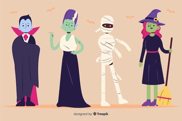 Coleção de personagens de halloween na mão desenhada