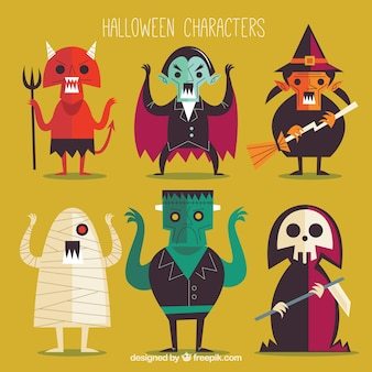 Coleção de personagens de halloween no design plano