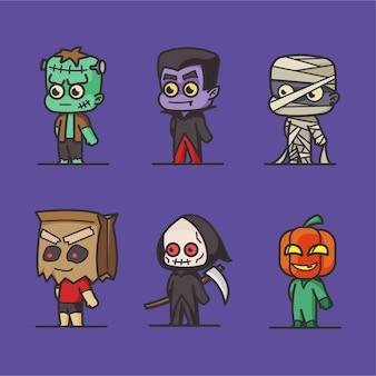 Coleção de personagens de halloween plana