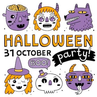 Coleção de personagens de halloween