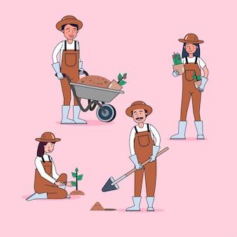 Coleção de personagens de jardineiro grande conjunto isolado ilustração plana vestindo uniforme profissional, estilo cartoon