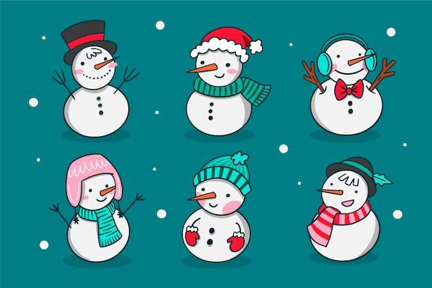 Coleção de personagens de mão desenhada boneco de neve