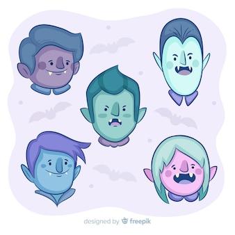 Coleção de personagens de mão desenhada vampiro