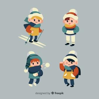 Coleção de personagens de meninos de inverno