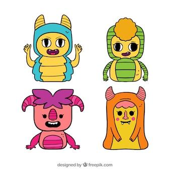 Coleção de personagens de monstros com caretas