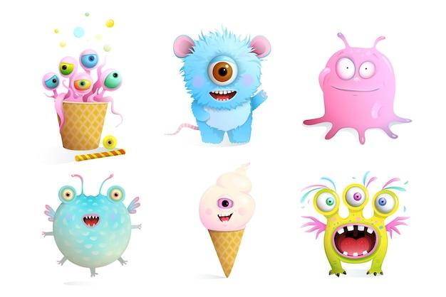 Coleção de personagens de monstros fictícios para crianças.