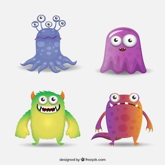 Coleção de personagens de monstros gradientes