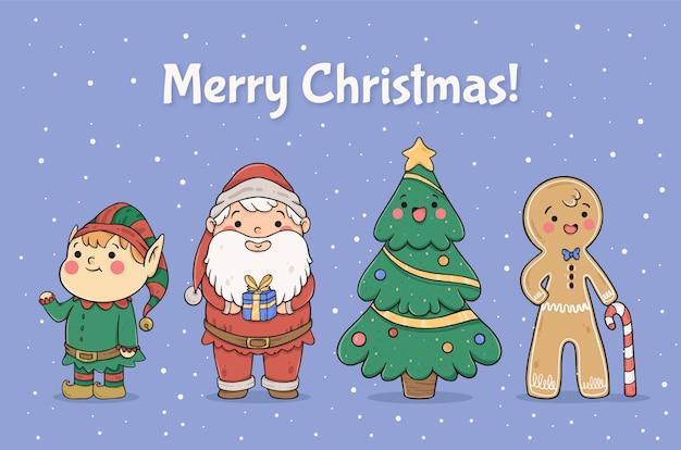 Coleção de personagens de natal bonito