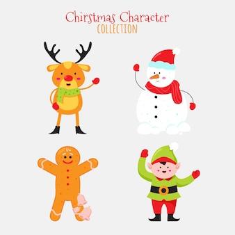 Coleção de personagens de natal de design plano