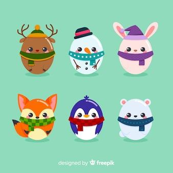 Coleção de personagens de natal de ovo