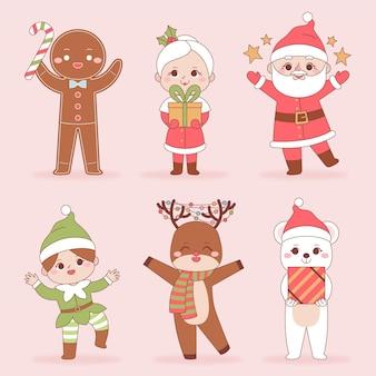 Coleção de personagens de natal desenhada à mão