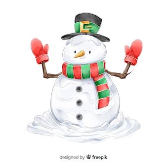 Coleção de personagens de natal em aquarela boneco de neve
