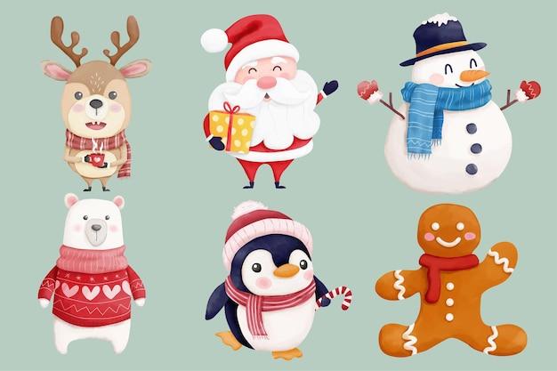 Coleção de personagens de natal em aquarela