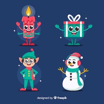 Coleção de personagens de natal em design plano