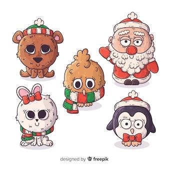 Coleção de personagens de natal mão desenhada