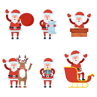 Coleção de personagens de natal papai noel