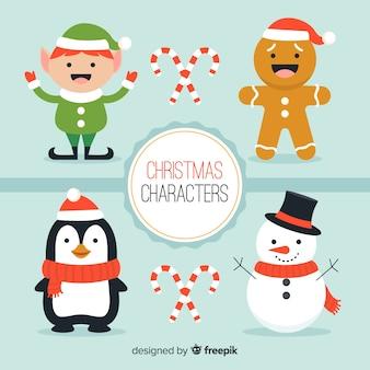 Coleção de personagens de natal sorridente