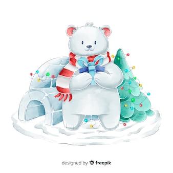 Coleção de personagens de natal urso aquarela