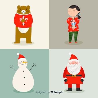 Coleção de personagens de natal