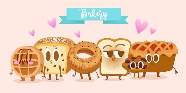 Coleção de personagens de padaria
