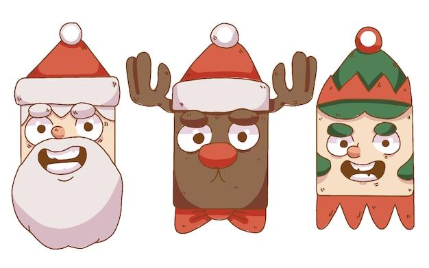 Coleção de personagens de papai noel, renas e gnomos de natal