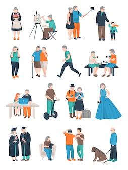 Coleção de personagens de pessoas envelhecidas