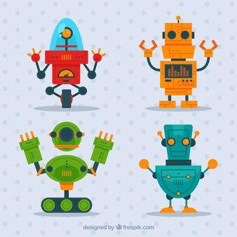 Coleção de personagens de robôs planos
