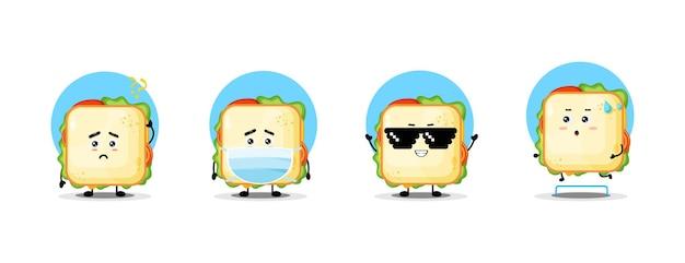Coleção de personagens de sanduíche fofinho