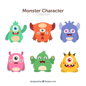 Coleção de personagens de seis monstros