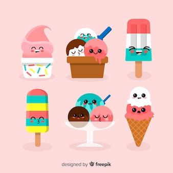 Coleção de personagens de sorvete kawaii