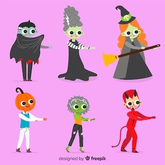 Coleção de personagens de trajes de halloween plana